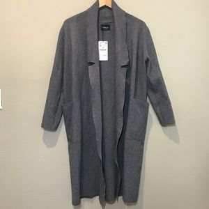 Zara Knit Gray Long Cardigan Medium New